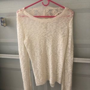 Pink Republic sweater with crocheted back
